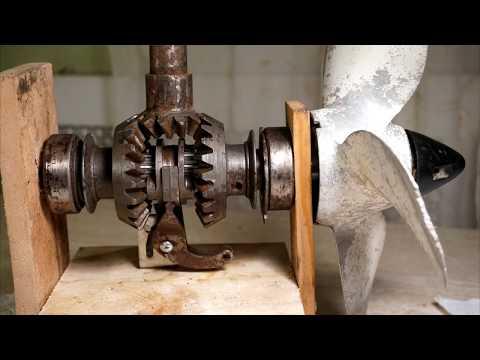Как устроен редуктор лодочного мотора , переключение передач вперед / назад