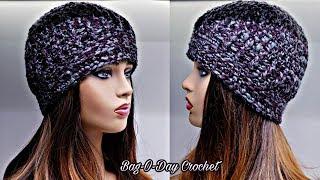 How To Crochet a Hat - Unisex Beanie Hat -  Bag-O-Day Crochet Tutorial #556