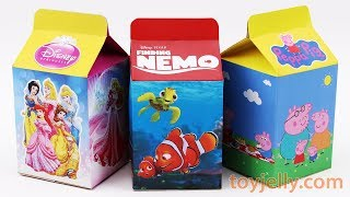 Unboxing Handmade Milk Carton Toys Learn Colors Peppa Pig Disney PRINCESS FINDING NEMO Toys for kids