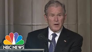 Former President George W. Bush Holding Back Tears, Eulogizes Dad As 'A Loving Man' | NBC News
