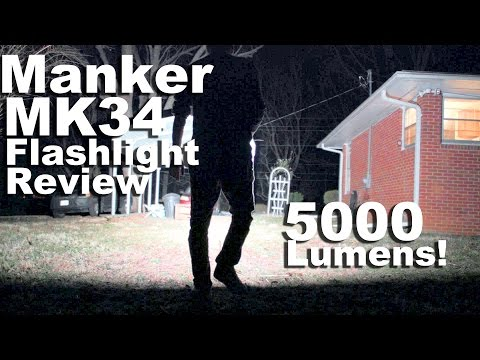 The 5000 lumen Manker MK34 Flashlight Review.  With Nichia Emitters and Low Moonlight Mode