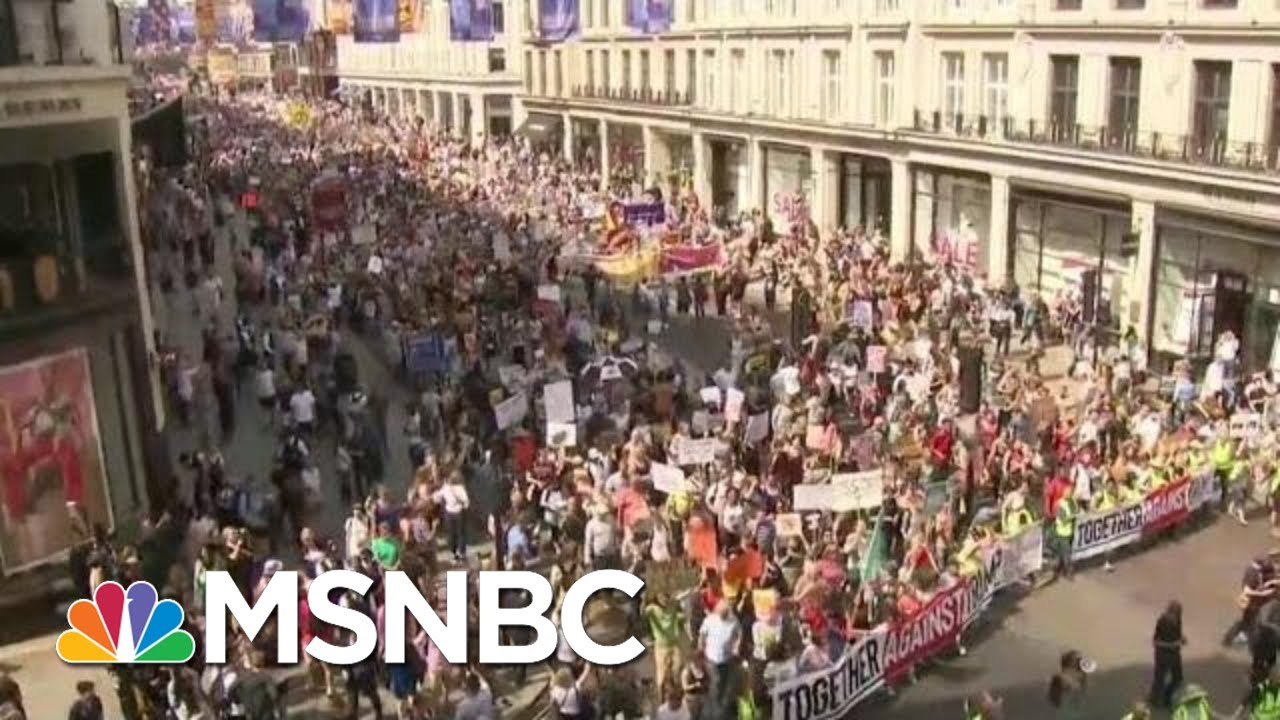 Massive Protests In London As President Donald Trump Meets With The Queen, PM   Hardball   MSNBC thumbnail