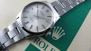 Steel Rolex Oyster Perpetual Air-King Precision Ref. 5500 vintage wristwatch, sold in 1975