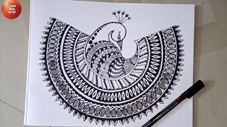 Zentangle Peacock Art / Doodle Art Peacock / Mandala Art Peacock Drawing