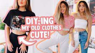 DIY-ING MY OLD CLOTHES CUTE AGAIN! (turning Ugly Clothes Into Cute Clothes)