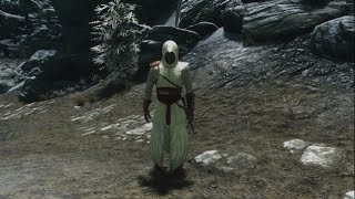Skyrim Special Edition Assassins Creed Armor Mod - Altair Black And White Robes Showcase