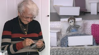 video: Watch: Great-great-grandmother knits 'Knittingale Hospital' to raise money for NHS