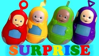 This is the Teletubbies Stacking Cups Surprise with Tinky Winky Dipsy La-La and Po. I'm also Unboxing Chocolate Surprise Eggs from Disney Frozen Marshmallow Snowman, Shopkins Season2 Shopping Basket, Bubble Guppies Surprise Molly, Play-Doh and Kinder Surprise Disney Fairies. Thx 4 watching another Unboxing from ToysCollector.  Teletubbies is a British BBC children's television cartoon targeted at preschool children as well as toddlers and infants about alien species with television screens. They talkin infantile gibberish or babbling just like babies.