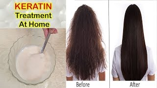 Keratin Treatment At Home For Straight, Smooth, Shiny And Healthy Hair  .....(ENG SUB)