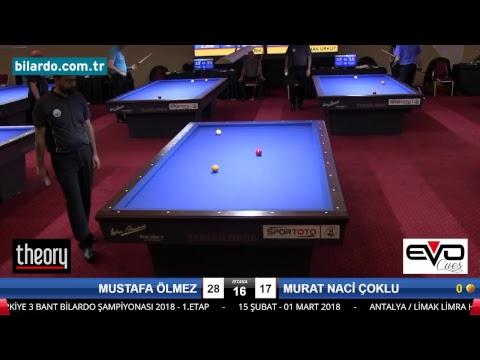 MUSTAFA ÖLMEZ & MURAT NACİ ÇOKLU Bilardo Maçı - 2018 - TÜRKİYE 1.LİGİ-1. Tur