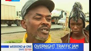 Hundreds of motorists forced to spend the night on Mombasa road after a massive traffic snarl up