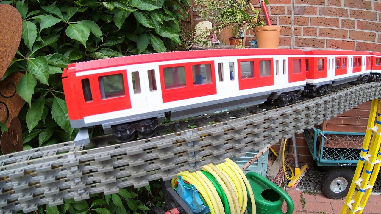 Lego MOC custom train S-Bahn Hamburg outside on a hughe 9v rail bridge lego bahn eigenbau