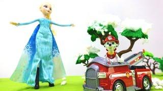 Видео с игрушками из мультика «Щенячий Патруль» и Эльза ХОЛОДНОЕ СЕРДЦЕ! Пожар 🔥 в лесу!