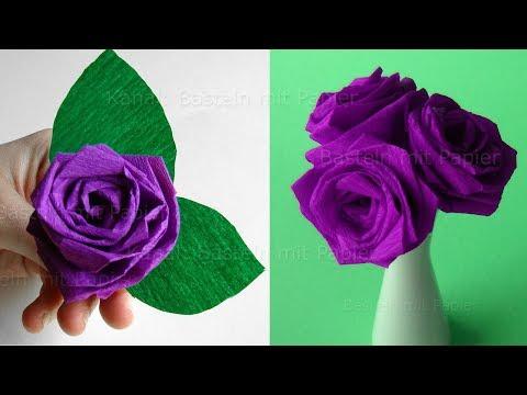 Origami Rose falten: Blumen basteln - Rosen aus Krepp-Papier - DIY Bastelideen Geschenke für Mama