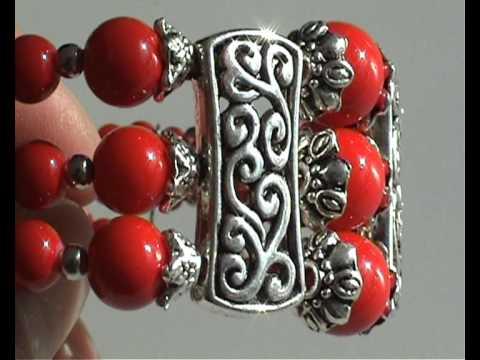 Tibet Silber Koralle Armband  Armreif  Armschmuck  Asiatischer Schmuck