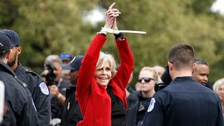 video: Jane Fonda accepts Bafta award while being arrested at climate protest