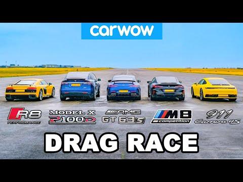 BMW M8 v Audi R8 v AMG GT 4dr v 911 vs Tesla Model X: DRAG RACE
