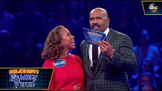 The Harvey Family Plays Fast Money - Celebrity Family Feud - dooclip.me
