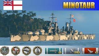 Новая имба? Крейсер Minotaur - первая британская X, рекордные показатели урона | WoWS Replays