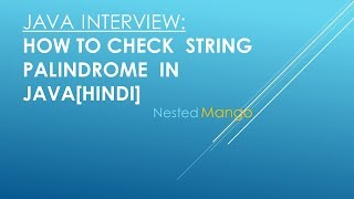 Program How To Check Palindrome String In Java In [Hindi]✓ | AMCAT , Cocubes