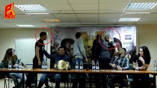 Жесткая драка десантника с армянином на пресс конференции турнира OLD GUARD DIVISION 5 MMA