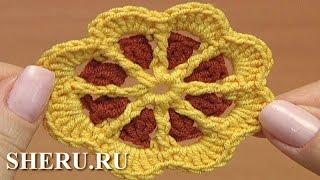 Crochet Motifs Patterns Урок 43 часть 1 из 2 Цветочный мотив для детского изделия