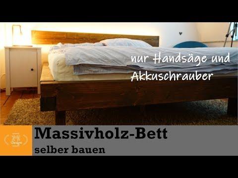 DIY Massivholz Bett selber bauen // Bett bauen mit wenig Werkzeug