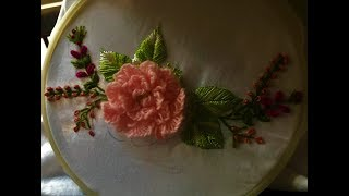 Hand Embroidery. Brazilian Embroidery Design. Rose Flower Embroidery.