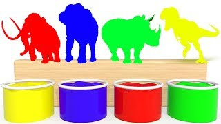 Bathing Colors Real Life Animals Dinosaur, Elephant,  Mammoth, Rhino Wild Animals Colors for k