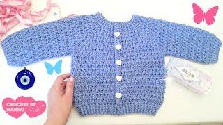 جاكيت اطفال كروشي للاولاد والبنات من 0 حتى 12سنة #1 Seamless Crochet jacket for baby & childs/kids