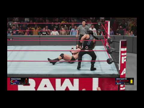 WWE 2K Tonight July 19th 2019 Monday night RAW Reigns Beats Drew McIntrye and Spears his Ass OMG