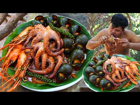 Cooking Giant Spider Octopus,Snails, Lobsters BBQ Recipe Eating So Yummy – Spice Seafood bbq
