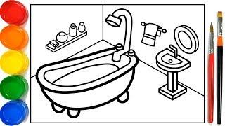 Glitter Bathroom drawing and coloring Pages For Kids | Kamar Mandi Halaman Mewarnai