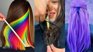 Top Haircut And Hair Color Transformation For Long Hair - Rainbow Hairstyle Colours Tutorials Ideas