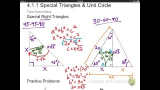 4.1.1 Special Right Triangles And The Unit Circle