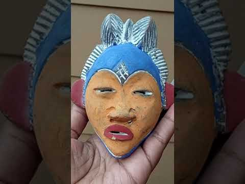 Tribal African Mask, Ceramic African wall art, vintage apotropic VIDEO