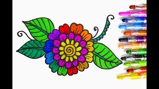 How To Draw Flower Coloring Pages For Kids Learn Colors