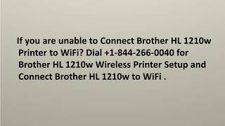 Connect Brother HL 1210w Printer to WiFi