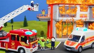 Playmobil Film deutsch: Schule & Familie im Krankenhaus + Feuerwehrmann Feuer auf Klo    Kinderserie
