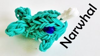 Rainbow Loom Whale / Narwhal (3D) Charm / Design Made With Loom Bands