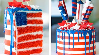 American Flag INSIDE A Cake For 4th Of July!