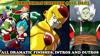 All CHRISTMAS Dramatic Finishes, Intros & Outros (ALL DLC) - Dragon Ball FighterZ [Season Pass 1]