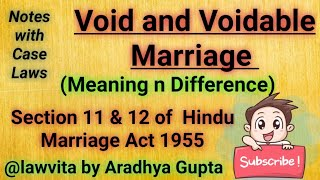 Void and Voidable Marriage||Section 11 & 12 of Hindu Marriage Act|Difference between Void n Voidable