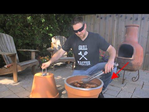 DIY Flower Pot Grill & Smoker