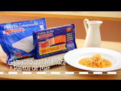 Cómo se hace la receta de Gazpacho con Merluza y Palitos de Mar