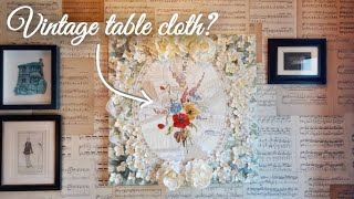 Unusual Crazy Patchwork Technique   Up-cycling A Linen Tablecloth And Antique Lace