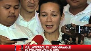 Grace Poe Campaigns In Typhoon Ravaged Northern Samar