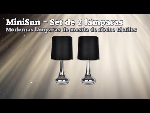MiniSun – Set de 2 modernas lámparas de mesita de noche táctiles