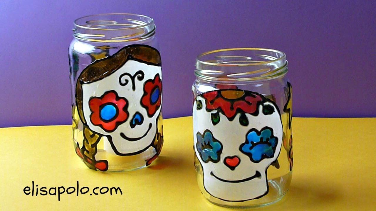 DIY Catrina mexicana, Decoración para Halloween/ Día de los Muertos, Sugar Skull Candle