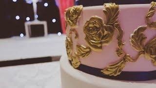 Pink & Gold Detailed Wedding Cake !